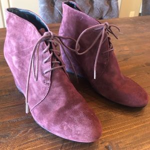 Lace Up Wedge Booties - Bordeaux - Size 9
